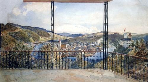 Obraz Rudolfa von Alta (1812-1905) z roku 1858 zachycuje Rožmberk nad Vltavou při pohledu z Horního hradu