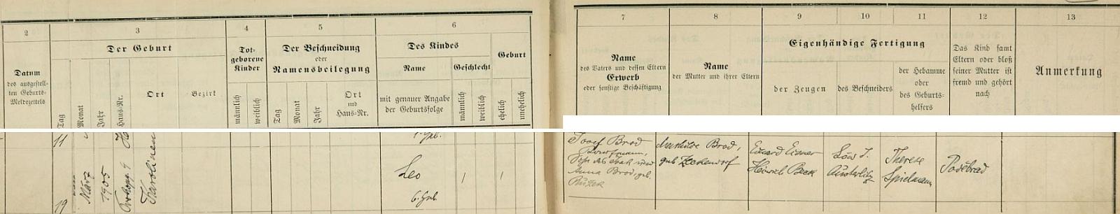 """Záznam karlínské židovské matriky o jeho narození a obřízce: narodil se 19. března roku 1905 na karlínské adrese """"Prokopgasse 9"""" jako šesté dítě v rodině obchodníka Josefa Broda (syna Isaka Broda a Anny, roz. Růžkové) a jeho ženy Mathildy, roz. Zeckendorfové, jako svědci jsou psáni Eduard Eisner a Heinrich Beck, obřízku provedl Löw J. Austerlitz, porodní bábou byla Therese Spielmannová, dítě včetně rodičů nebo pouze matky je cizí a patří do Poděbrad"""