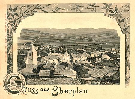 Jeho rodná Horní Planá na staré pohlednici drážďanské firmy Göhler