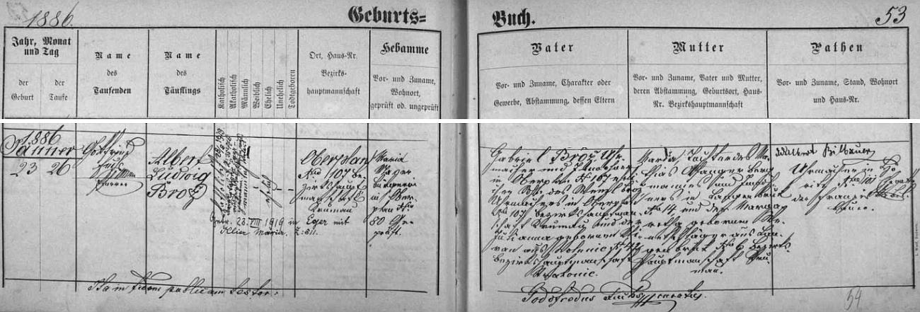 Záznam v hornoplánské matrice o jeho narození ho píše příjmením po otci Brož