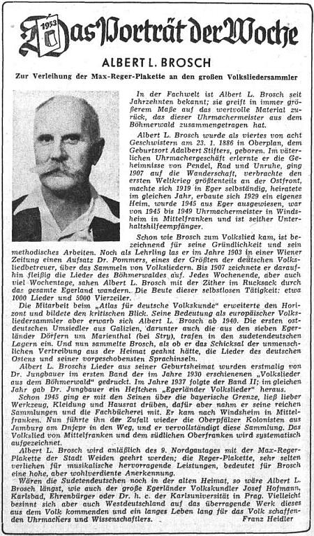 K propůjčení plakety Maxe Regera přinesl ústřední list vyhnaných krajanů v roce 1953 Broschův medailon na své kulturní straně ve výrazné úpravě