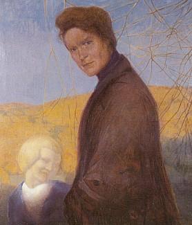 Matka Julie a syn Günther Poschingerovi na obraze z roku 1909