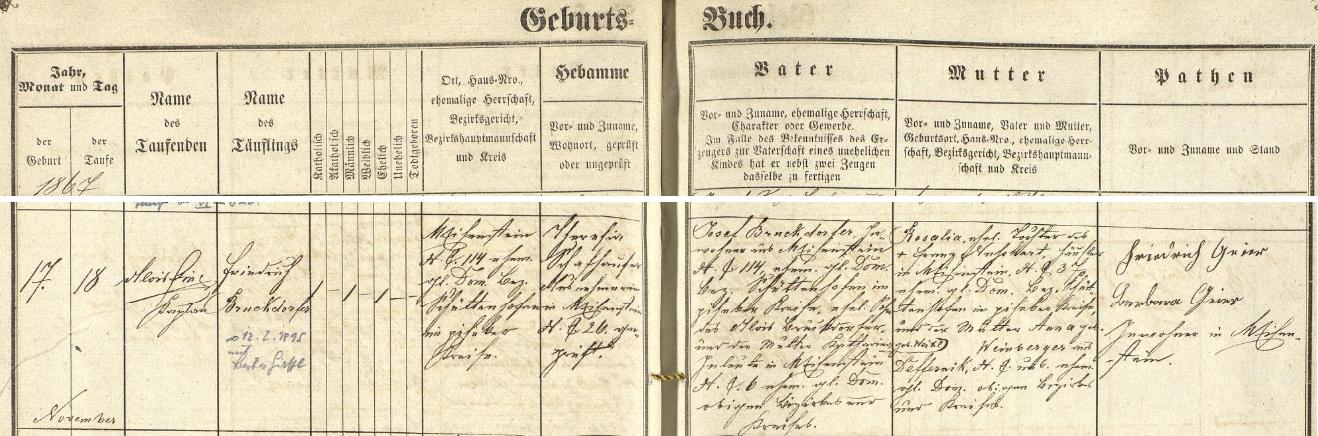 Záznam o jeho narození v železnorudské křestní matrice s přípisem o jeho pozdější  svatbě s Berthou Girstlovou