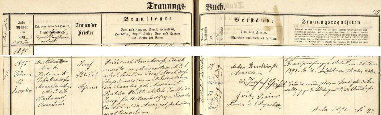 Stránky železnorudské oddací matriky se záznamem o jeho zdejší svatbě v únoru roku 1895, provázené tu ipodepsaným písemným souhlasem nevěstina otce