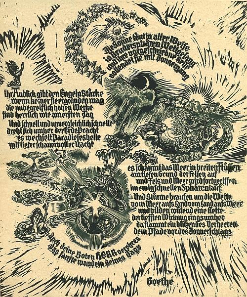 Zpěv archandělů (Prolog v nebi) z Goethova Fausta v grafice Fritze H. Langa (1877-1961)