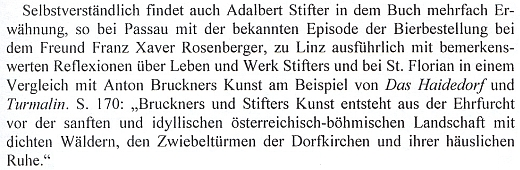 Z recenze čtvrtého německého vydání knihy Claudia Magrise o Dunaji s pasáží srovnávající Stifterovo umění s Brucknerovou hudbou