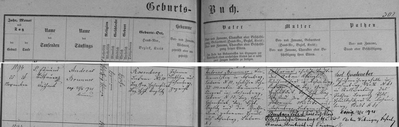 Záznam křestní matriky o narození Andrease Brunnera v Rožmberku nad Vltavou s pozdějším přípisem o datu jeho českokrumlovské svatby