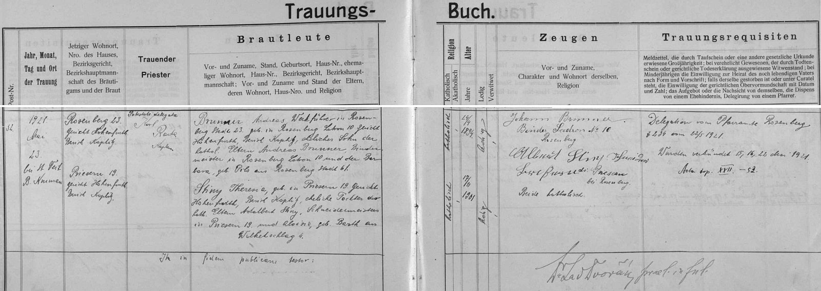 Záznam českokrumlovské matriky o jeho zdejší svatbě v květnu roku 1921