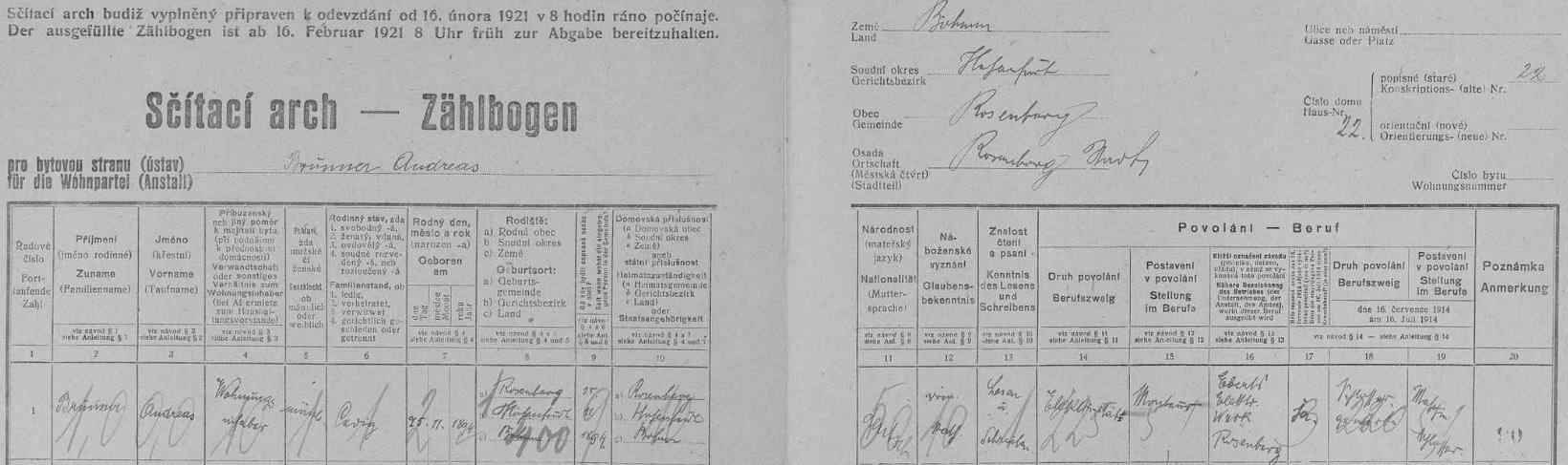 Arch sčítání lidu z roku 1921 pro dům čp. 22 v Rožmberku nad Vltavou, kde žil jen několik měsíců před svatbou dosud sám