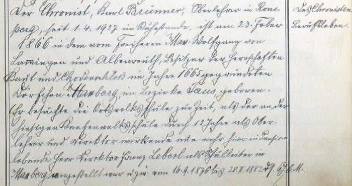 Úvod jeho životopisu v poběžovické kronice