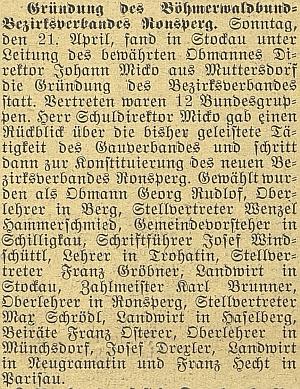 V roce 1930 jej zmiňuje budějovický německý list jako pokladníka nově vzniklého okresního svazu Böhmerwaldbund v Poběžovicích