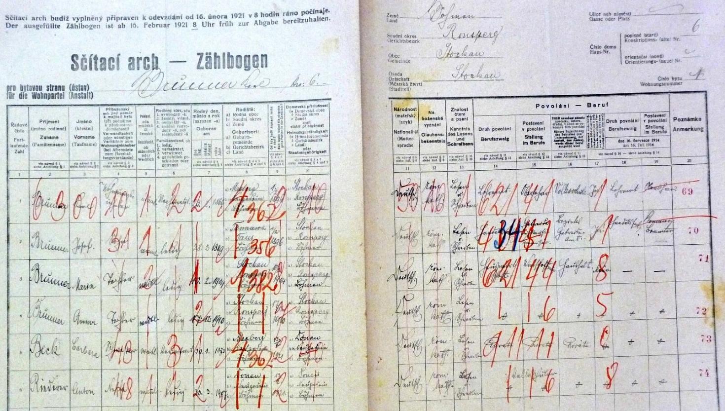 Arch sčítání lidu z roku 1921 pro stavení čp. 6 v Pivoni, kde žil se svými třemi dětmi, svou sestrou a synovcem