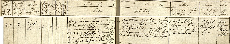 Záznam maxovské křestní matriky o jeho narození