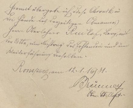 Takto předal v roce 1931 kroniku učitelského spolku v Ronšperku