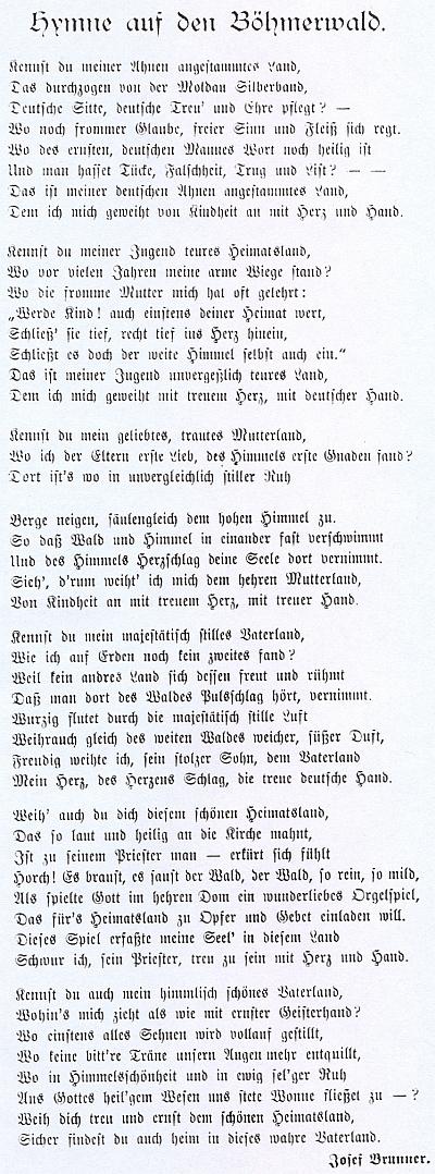"""Jeho """"hymnus na Šumavu"""", který Rupert Essl nalezl v nějakém časopise (nejspíš jde o Peterův Der Böhmerwald) otiskl bez udání pramene v separátu starých novinových zpráv o okolí Horní Plané"""