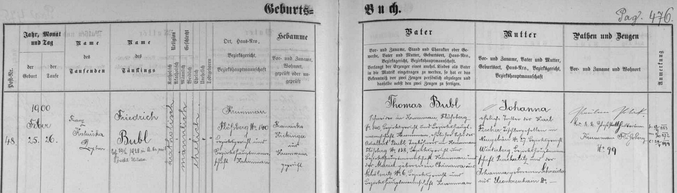 Záznam českokrumlovské křestní matriky o jeho narození na Plešivci čp. 140 s přípisem o svatbě s Hildou Pöschlovou