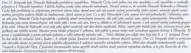 Zápis z listopadu 1918 v kronice školy v šumavské Kvildě, kde učil v letech 1878-1918 jeho otec