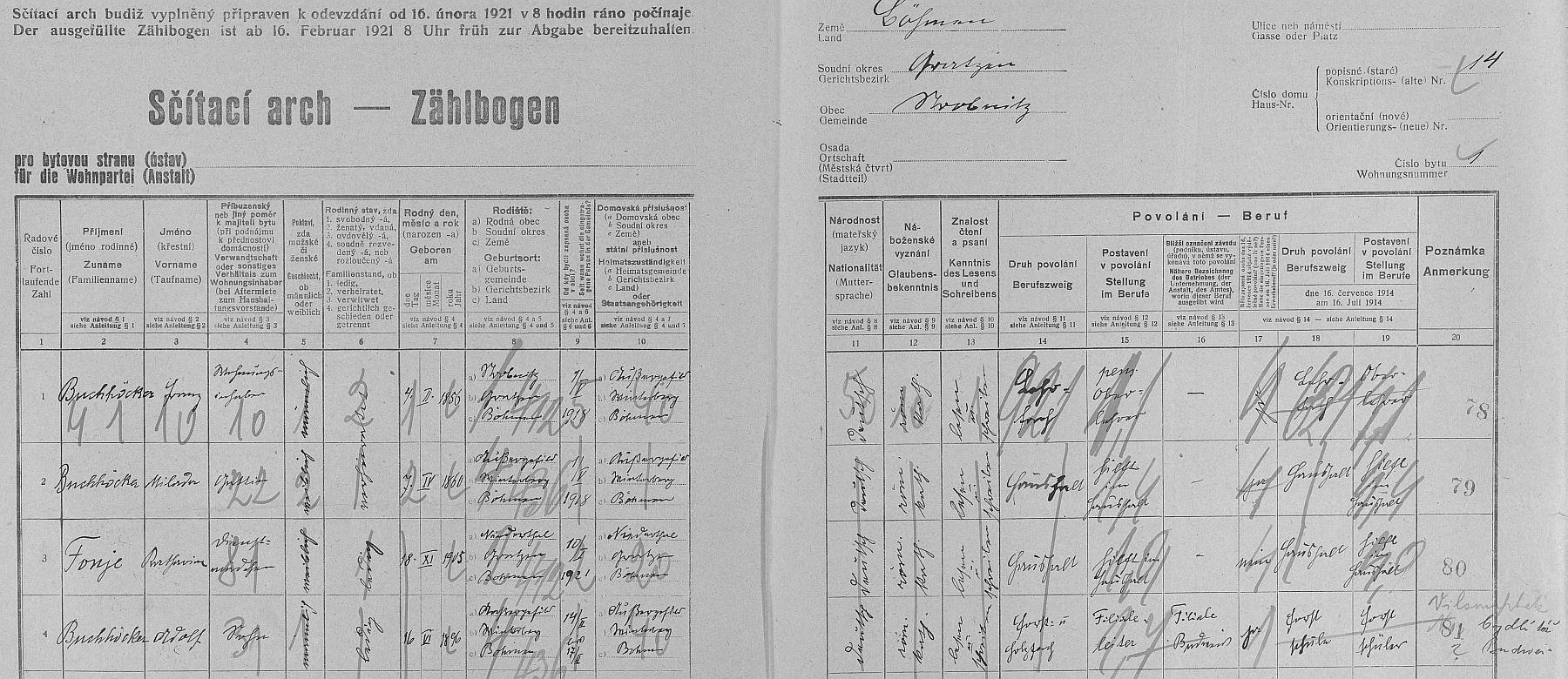 Ärch sčítání lidu z roku 1921 pro dům čp. 14 v Horní Stropnici, kde bydleli jeho rodiče (otec byl odtud, matka Milada z Kvildy)