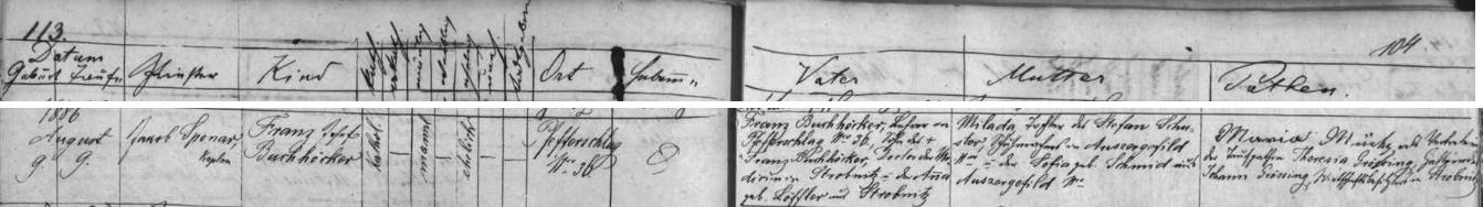 Záznam o jeho narození v prachatické křestní matrice