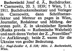 """Heslo Josefa Buchowieckiho """"staršího"""" v rakouském životopisném lexikonu"""