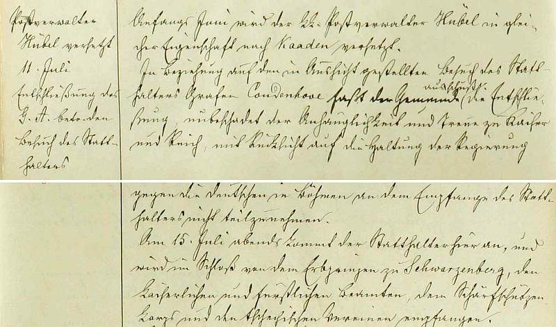 Záznam českokrumlovské městské kroniky o návštěvě místodržitelově v červenci 1898 - Büchse ovšem nebyl purkmistrem, jak píší Jihočeské i Národní listy, ale městským radním, jak se dočítáme na na dalších stranách této jím psané pamětní knihy