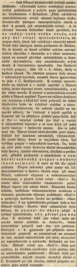 """... a zpráva Národních listů o této """"aféře"""" s uvítáním místodržícího hraběte Coudenhove vČeském Krumlově vroce1898"""