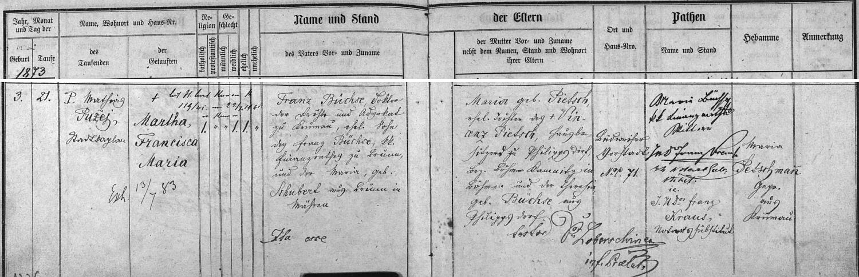 Záznam českokrumlovské křestní matriky o narození jeho dcery Marthy, provd. Putschöglové (1873-1941)