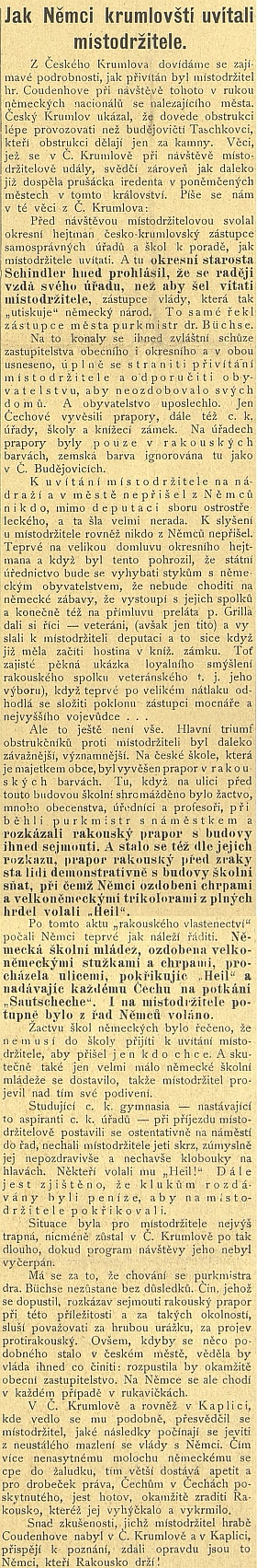 Článek z titulní strany Jihočeských listů, kde je Büchse mylně uveden jako českokrumlovský purkmistr...