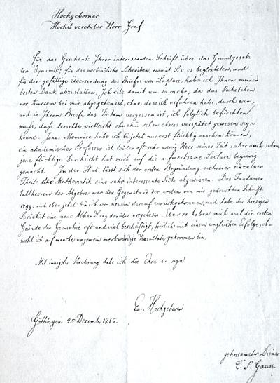 Na Boží Hod vánoční psal mu roku 1815 slavný německý matematik Carl Friedrich Gauss