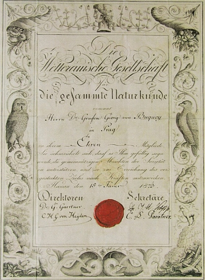 Diplom čestného členství ve veteránské společnosti pro veškerou přírodovědu ze dne 15. ledna 1823