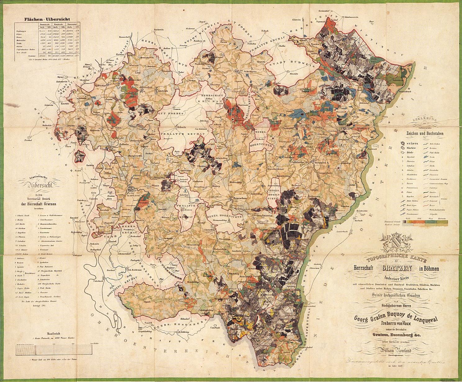 Mapa novohradského panství z roku 1847 (klikněte na obrázek pro zvětšení)
