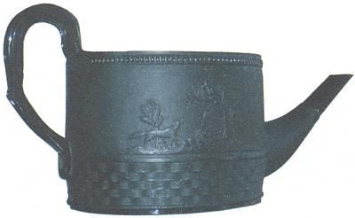 Zdobená konvice z černého hyalitu, datovaná někdy prvou půlí 19.století