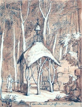 """Tzv. """"poustevna"""" v Terčině údolí na kresbě Josefa Berglera (1753-1829) z roku 1809"""
