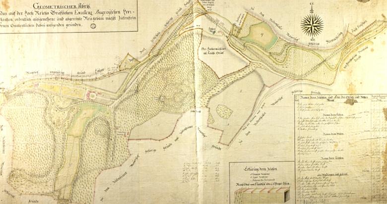 Geometrický plán parku v Terčině údolí z doby před rokem 1796, jak ho vypracoval Johann Franz Riemer, inženýr vbuquoyských službách, mj. i autor projektu dnes zříceného kostela v Pohoří na Šumavě