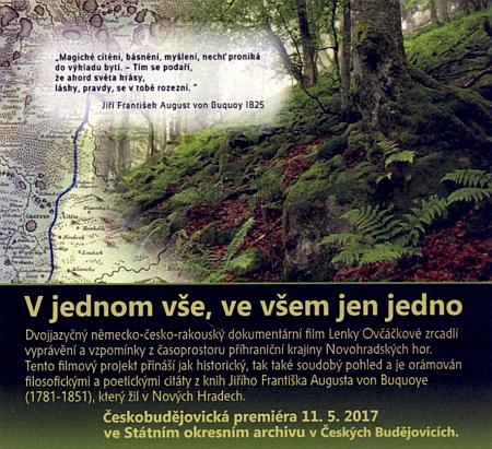 Pozvánka na českobudějovickou premiéru dokumentárního filmu Lenky Ovčáčkové s citacemi jeho básní