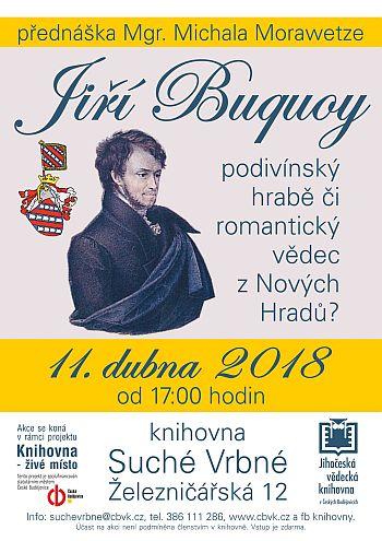 Plakát na přednášku Mgr. Michala Morawetze v prostorách pobočky Jihočeské vědecké knihovny