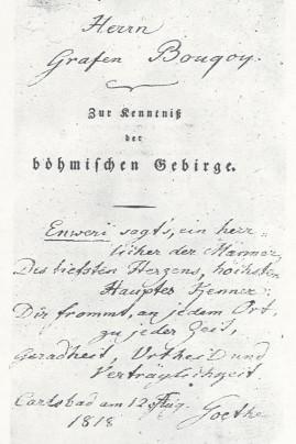 Titulní list s věnováním i verši Goethovými ze srpna 1818