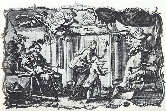 Alegorické zpodobení životního ideálu Jana von Buquoye na mědirytině Antona Klaubera z roku 1759 se symboly vědění, urozenosti, cti, lásky k bližnímu a zbožnosti