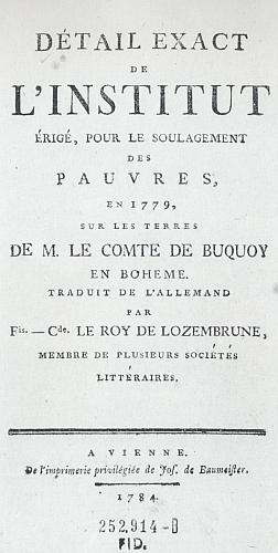 Titulní list německého a francouzského vydání zpráv buquoyského Chudinského ústavu z let 1780 a 1784