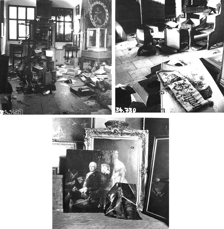 Tři snímky z května 1945 zachycují poničený archiv hraběcí rodiny Buquoyů v prostorách novohradského hradu
