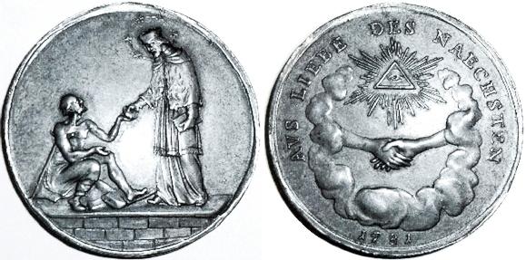"""Bronzová medaile """"Společenství lásky k bližnímu"""" (""""Vereinigung aus Liebe des Nächsten"""") z roku 1781 na líci sJanem Nepomuckým jako patronem zřizovatele organizace Johanna Nepomuka Buquoye a s Božím okem, rovněž pak i s heslem společenství na rubu"""