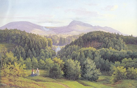 Pohled na Tereziino (Terčino) údolí - akvarel ze souboru prací Bedřicha Ströbela a Josefa Schütze na Státním hradě v Nových Hradech