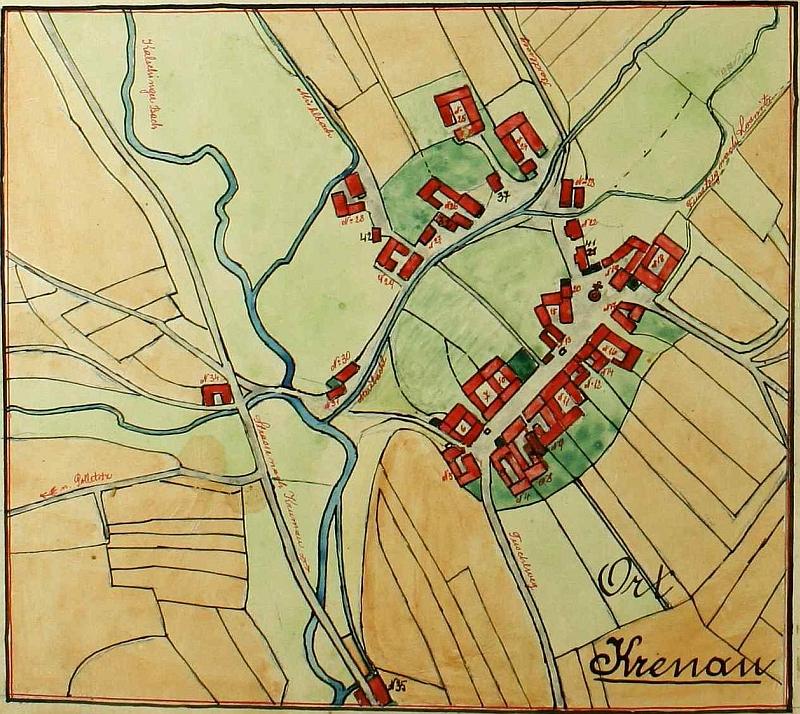 Plánek Křenova z obecní kroniky (viz i Johann Valentin)