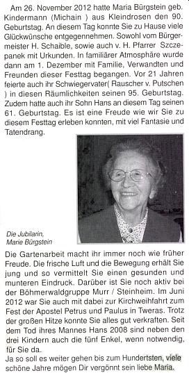 Připomínka devadesátin vdovy po něm Marie Bürgsteinové, roz. Kindermannové, v krajanském měsíčníku