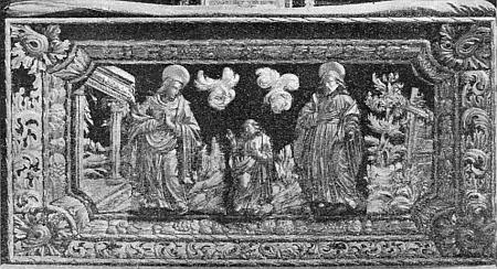 Původní vzhled interiéru mešní kaple Narození Panny Marie aantipendium jejího oltáře