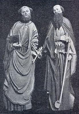 Sochy sv. Petra a Pavla z někdejšího oltáře hlavního kostela