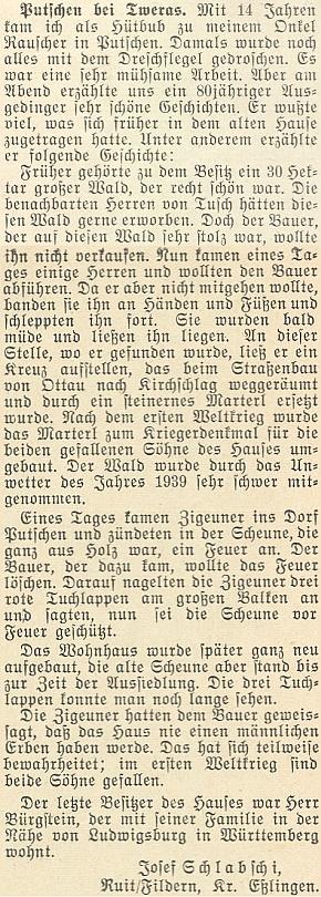 Krajan Schlabschi tady v roce 1953 vzpomíná na dnes zaniklé Bučí a chalupu čp.11, jejímž posledním majitelem byl Johann Bürgstein