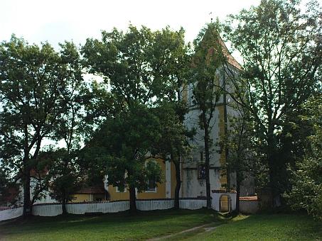 Kostel za vzrostlými stromy po devadesáti letech...