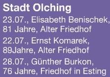 Místo posledního odpočinku nalezl v Olchingu