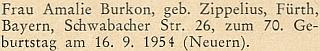 Blahopřání k sedmdesátinám jeho babičky Amalie na stránkách krajanského měsíčníku v září roku 1954